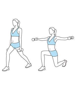 Illustration of a lateral raise with stationary lunge