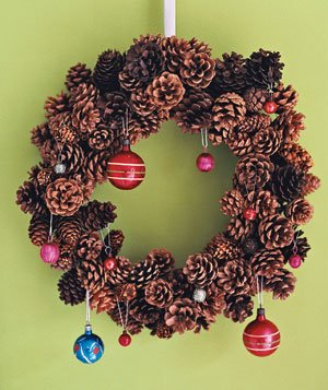A wreath with ornaments