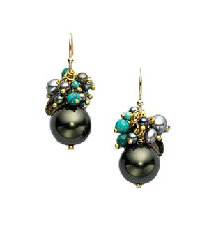 Black Freshwater Pearl, Turquoise, and Beer Quartz Earrings by Alexis Bittar