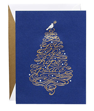 Blue Dove Tree Card by William Arthur for UNICEF