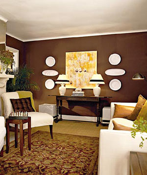 Brown living room with cream and yellow accents