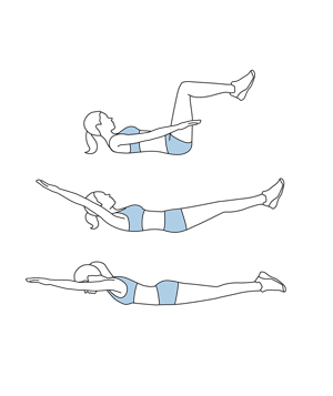 Illustration of crunch, reach, and roll exercise