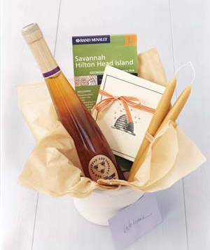Honey-themed welcome basket