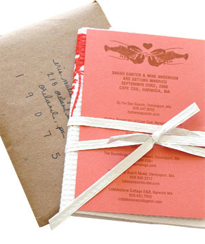 Bird and Banner lobster bib save-the-date for cape Cod wedding