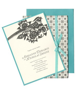 Kenzie Kate wedding invitation with gray and teal bird