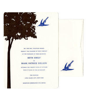 Greenwich Letterpress wedding invitation with simple tree silhouette