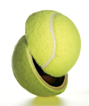 Tennis Ball cut in half