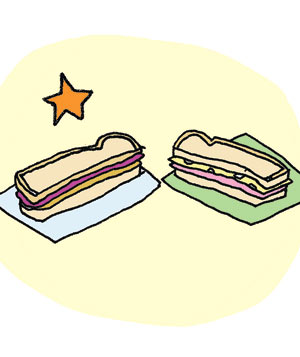 Illustration of peanut butter or ham-and-Swiss sandwich