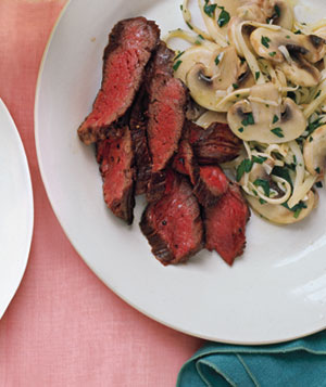 Seared Skirt Steak With Mushroom Salad