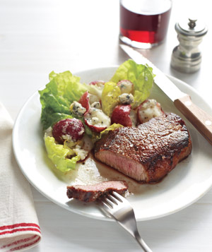 Steak With Potato Salad and Blue Cheese Vinaigrette Recipe