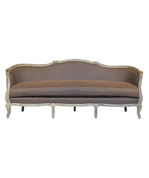 Amalfi sofa with a rustic finish and cocoa linen