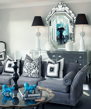 Sophisticated living room with classic lamps and a big mirror