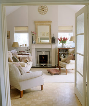 Traditional living room with neutral sofa and a dog
