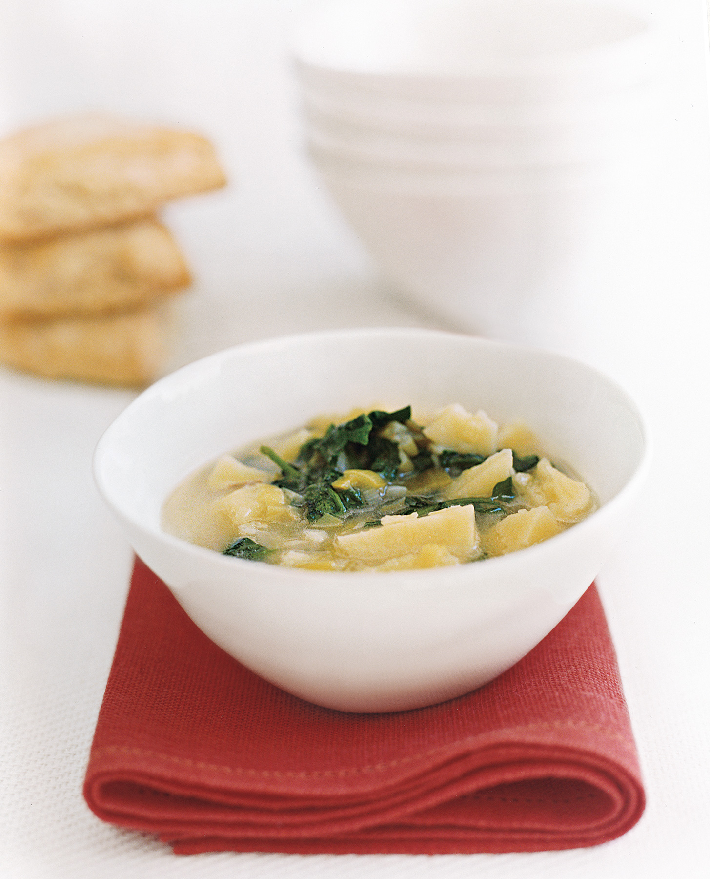 Watercress Soup and Ham Biscuits