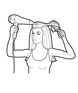 Shape ends and finish illustration for straight hair