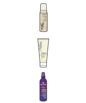 Illustration of styling products for straight hair