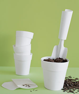 Paper construction of pots with shovel, dirt and seeds by Matthew Sporzynski