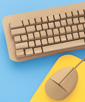Paper construction of keyboard with mouse by Matthew Sporzynski