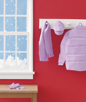 Paper construction of entryway with winter clothes by Matthew Sporzynski