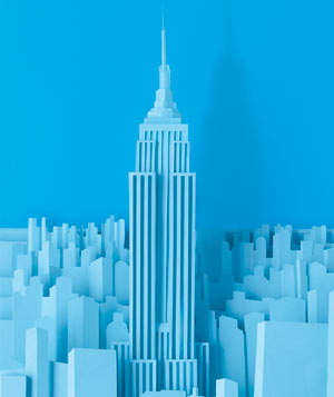 Paper construction of the Empire State Building by Matthew Sporzynski