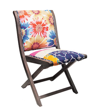 Terai folding chair in Floral Stripe by Anthropologie