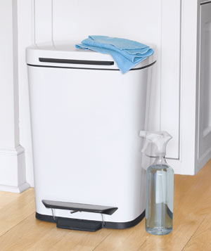 Kitchen trash can with cleaning spray and cloth
