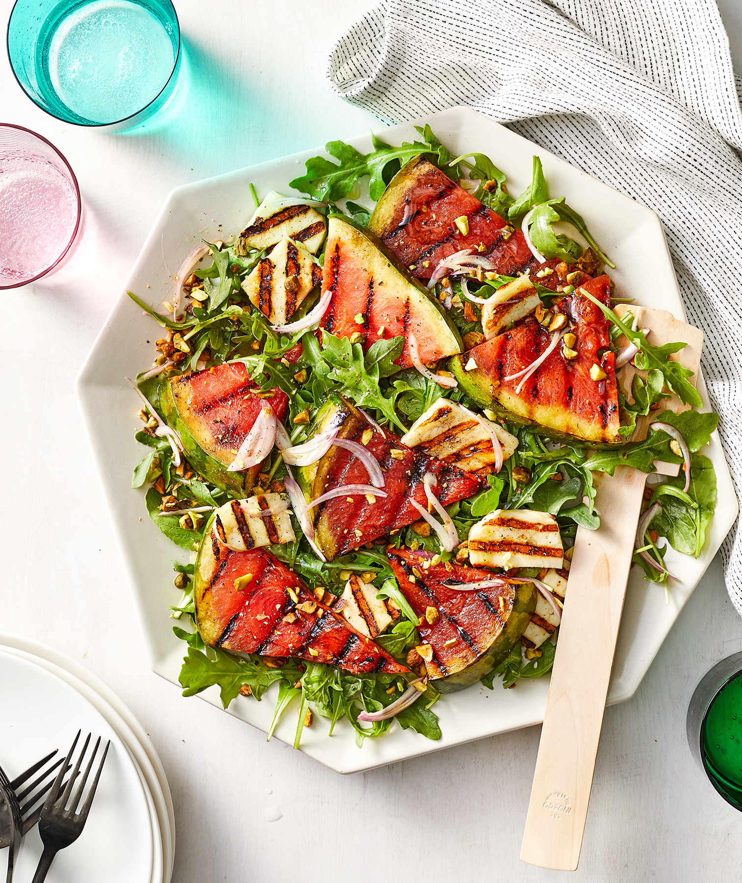 Grilled Watermelon and Halloumi Salad With Ginger-Lime Vinaigrette