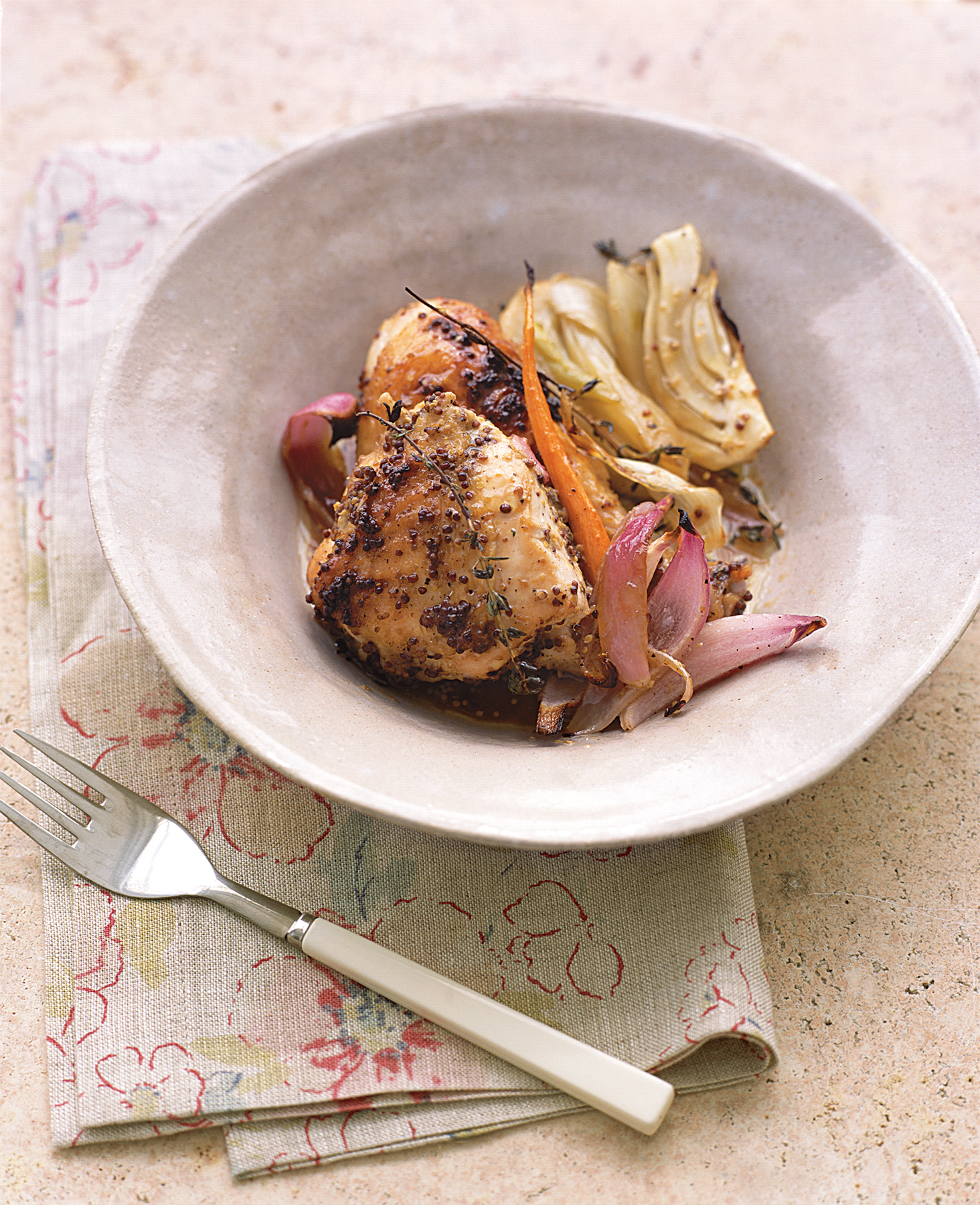 Mustard-Roasted Chicken With Vegetables