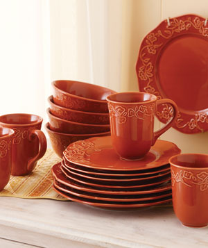 Better Homes and Gardens Summerdale Rose 16-Piece Dinnerware Set in Dried Peach