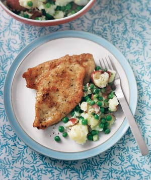 Chicken Cutlets With Smashed Potatoes and Peas