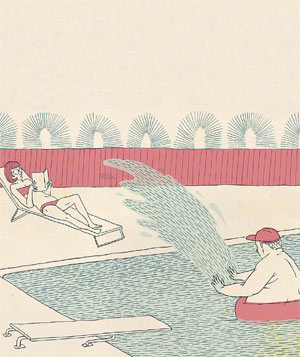 Illustration of girl getting spashed by her brother in the pool