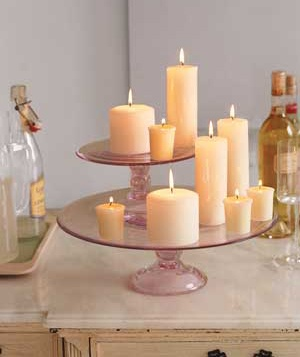 Candles on a tiered cake stand