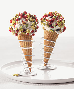 Cranberry and Pistachio-Dipped Cones