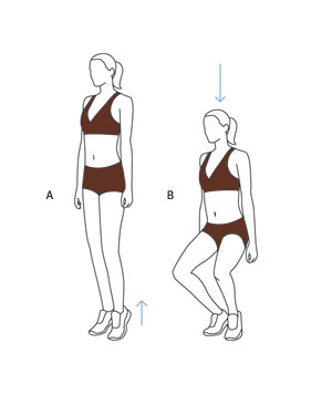 Illustration of first-position plie squat