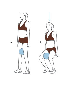 Illustration of squat with ball
