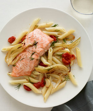 Roast Salmon With Vegetables, Penne, and Dill