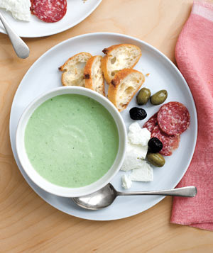 Chilled Cucumber Soup With Salami, Feta, and Olives