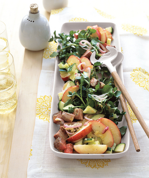 Beef, Watercress, and Peach Salad