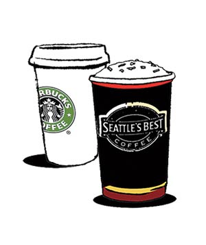 Illustration of Starbucks and Seattle's Best coffee