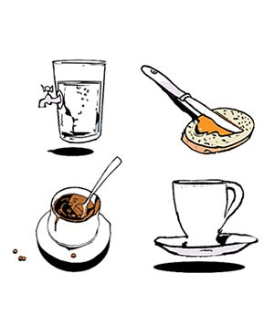 Illustration of water, breakfast, lunch, and tea