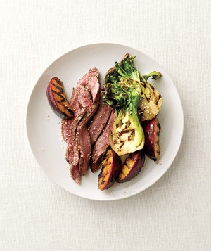 Grilled Steak, Plums, and Bok Choy