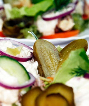 Pickles onions and salad