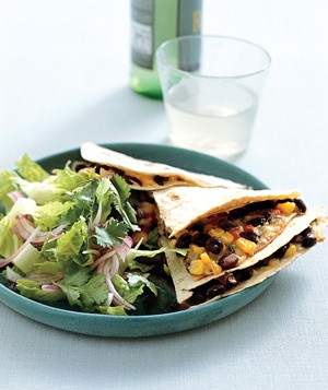 Everything but the kitchen sink goes into quesadillas finished off with Cheddar or Monterey Jack.