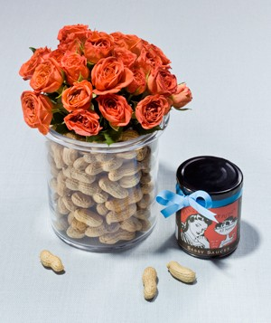 Jiff jars filled with red flowers