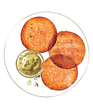 Crispy Salami Chips With Thyme Mustard