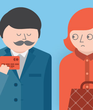 Illustration of a woman looking at a smug man holding a credit card