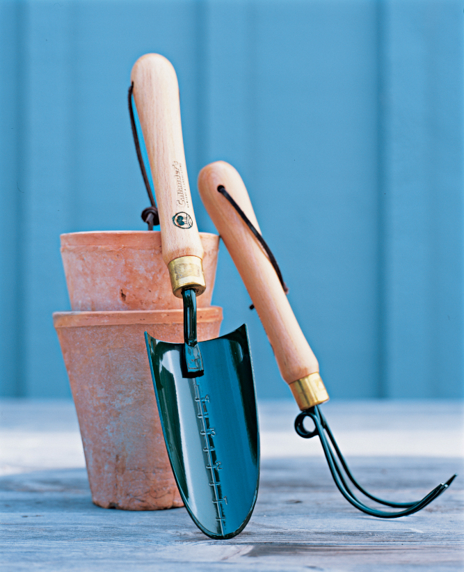 Containers and hand tools for gardening