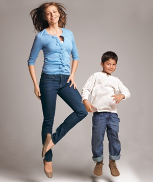 Mom and son in jeans