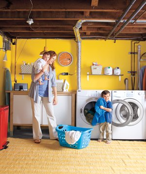 Mom and kids in laundry room