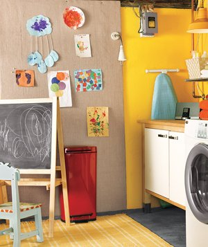 Laundry room play space for kids